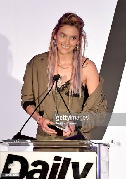Paris Jackson speaks onstage during The Daily Front Row's 4th Annual Fashion Los Angeles Awards at Beverly Hills Hotel on April 8 2018 in Beverly...