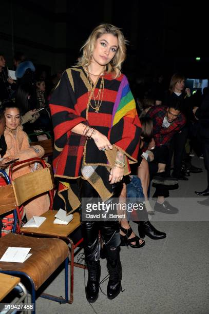 Paris Jackson wearing Burberry at the Burberry February 2018 show during London Fashion Week at Dimco Buildings on February 17 2018 in London England