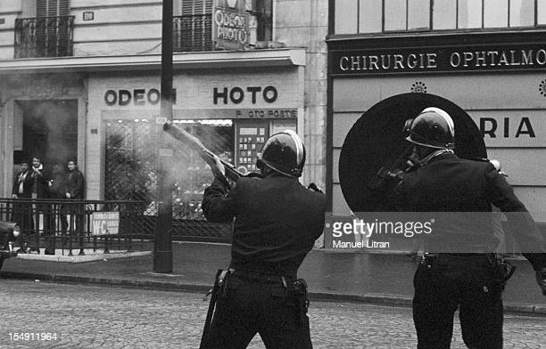 Paris, June 17 events in the Latin Quarter, two CRS operation of policing the streets.