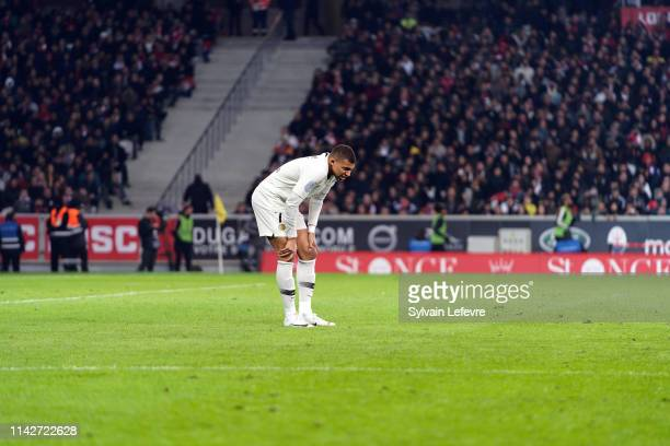 Paris' Kylian Mbappe during the Ligue 1 match between Paris Saint Germain and Lille OSC at Stade Pierre Mauroy on April 14 2019 in Lille France