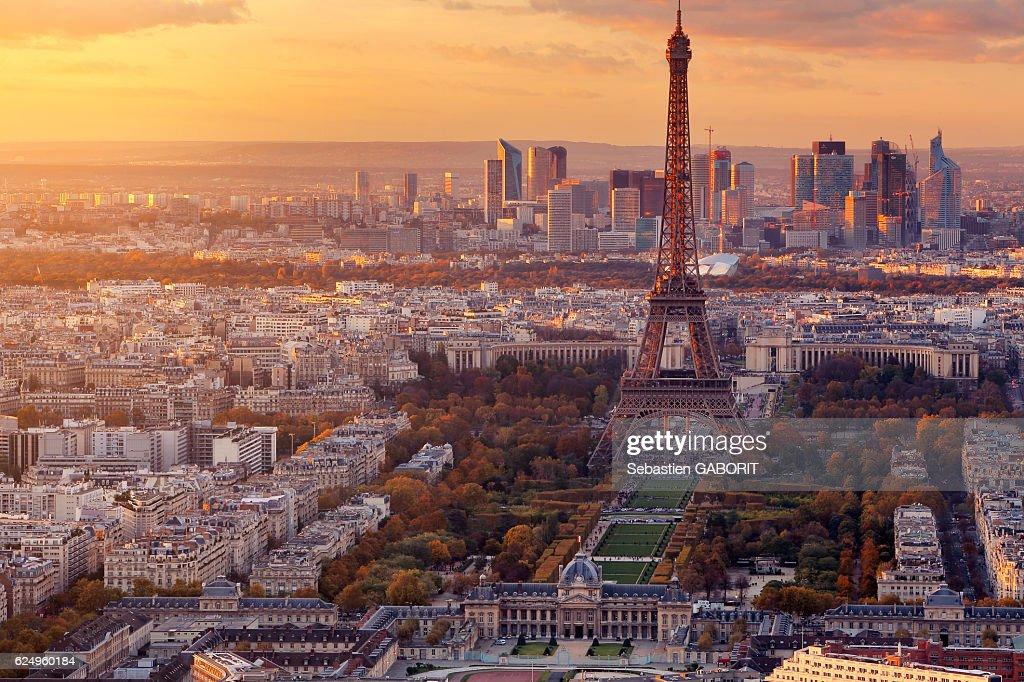 Paris Last light from Montparnasse in Autumn : Stock Photo