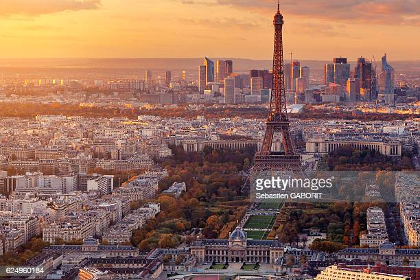 paris last light from montparnasse in autumn - place charles de gaulle paris stock photos and pictures