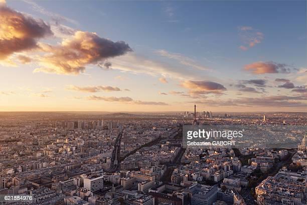 paris last light from montparnasse - ile de france photos et images de collection
