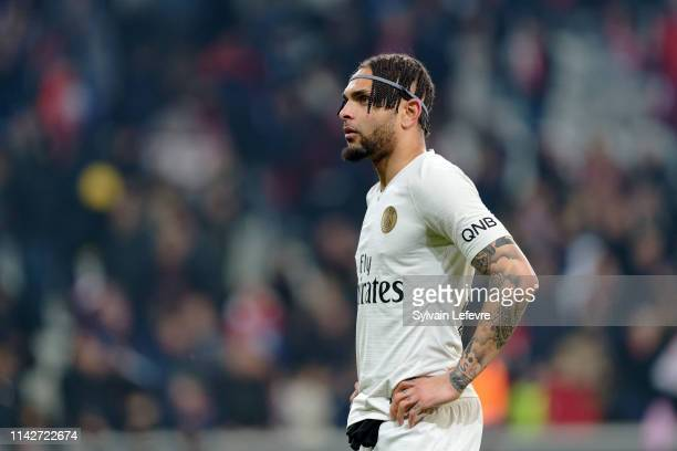 Paris' Layvin Kurzawa during the Ligue 1 match between Paris Saint Germain and Lille OSC at Stade Pierre Mauroy on April 14 2019 in Lille France