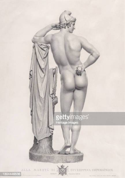 "Paris leaning on tree stump, back view. From ""Oeuvre de Canova: Recueil de Statues ..."", 1817. Artist Giovanni Tognolli."