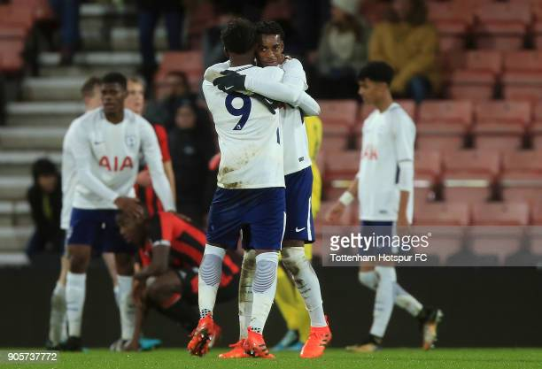 Paris Maghoma and Reo Griffiths of Tottenham Hotspur celebrate their teams victory during the FA Youth Cup match between Bournemouth U18 and...