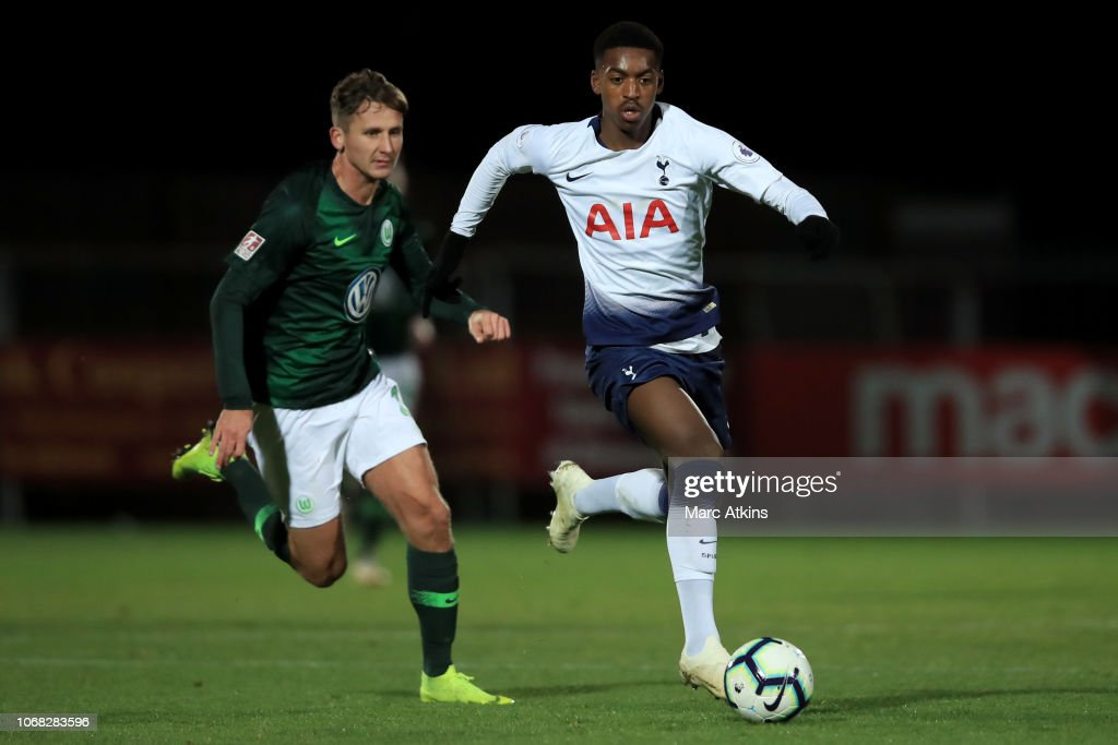 Paris Maghoma of Tottenham Hotspur in action with Paul ...