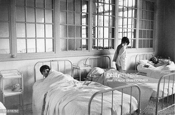 Paris Maison Blanche Psychiatric Hospital In The 1950'S Inmates In Their Dormitory