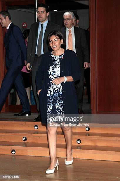 Paris major Anne Hidalgo gives a press conference at France Institute on July 11 2014 in Madrid Spain