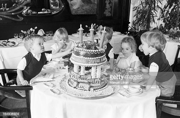 Paris May 14 the fivetime family BRUNNER celebrate their third anniversary at Maxim's Children Gilles Maud Mark Luke and Anne a table around their...