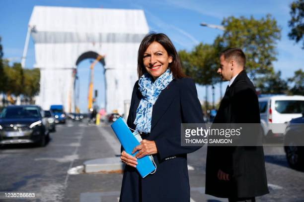 Paris Mayor and Socialist Party candidate for the 2022 French presidential elections Anne Hidalgo arrives to attend a press conference held for the...