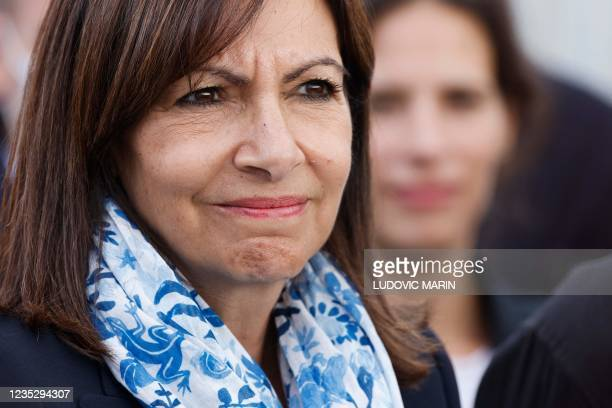 Paris Mayor and Socialist Party candidate for the 2022 French presidential elections Anne Hidalgo looks on during the inauguration of the Arc de...
