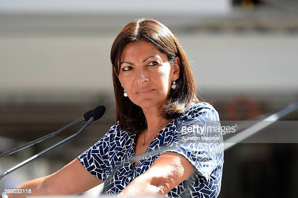 Paris Mayor Anne Hidalgo addresses the press after a visit to Station F during London Mayor Sadiq Khan one day trip to Paris to meet Paris Mayor Anne...