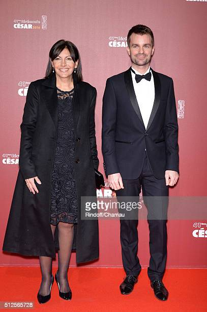 Paris Mayor Anne Hidalgo and Bruno Julliard arrive at The Cesar Film Awards 2016 at Theatre du Chatelet on February 26 2016 in Paris France