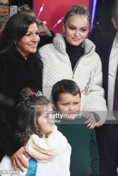 Paris Mayor Anne Hidalgo and Lily Rose Depp attend Christmas Lights Launch On The Champs Elysees on November 22 2017 in Paris France