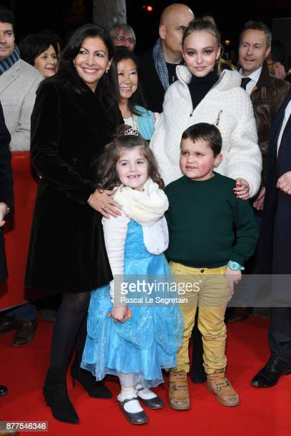 Paris Mayor Anne Hidalgo and Lily Rose Depp attend the Christmas Lights Launch on November 22 2017 in Paris France