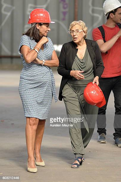 Paris Mayor Anne Hidalgo and Madrid Mayor Manuela Carmena visit the future migrants camp construction site on September 12 2016 in Paris France This...