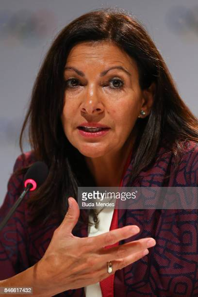 Paris mayor Anne Hidalgo answers questions to media during a joint press conference between IOC Paris 2024 and LA2028 during the131th IOC Session...