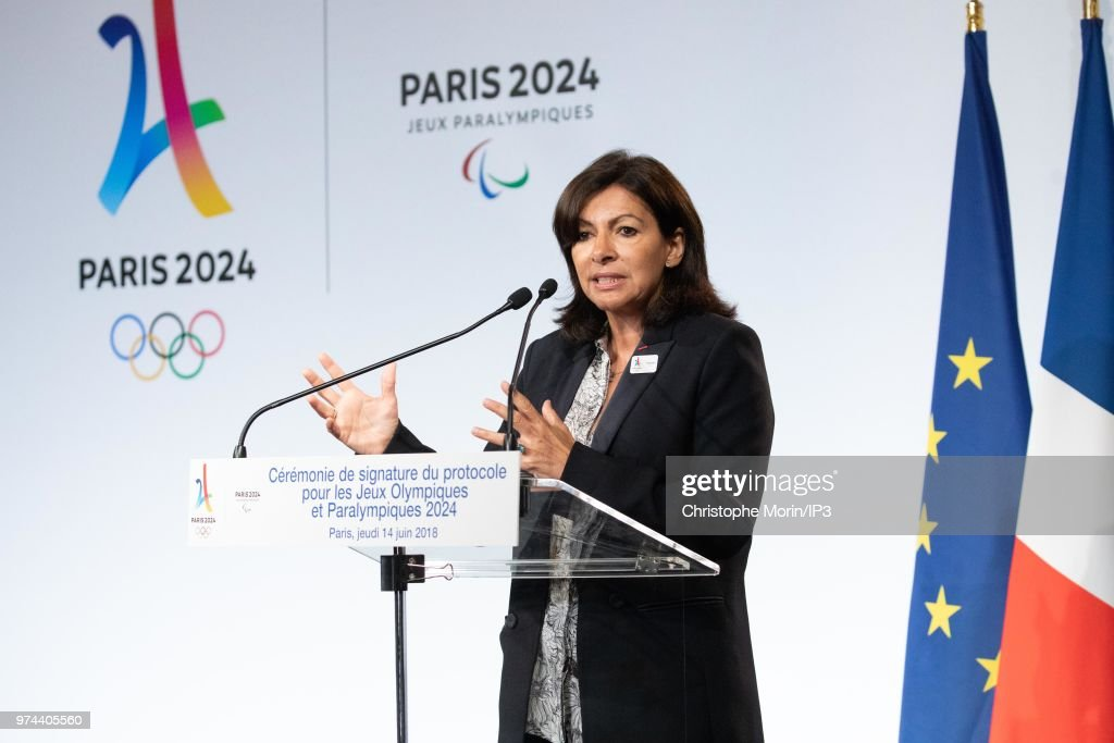 Paris Mayor Anne Hidalgo attends the ceremony of signing of joint funding protocol for the Paris 2024 Olympic Games and 2024 Paralympics games, at the Paris City Hall on June 14, 2018 in Paris, France. The collective work to optimise the Olympic and Paralympic project was carried out by the Paris 2024 Committee, the State, the local authorities and the various project owners.