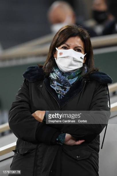 Paris Mayor Anne Hidalgo attends the Men's Final, Rafael Nadal of Spain against Novak Djokovic of Serbia during day 15 of the 2020 French Open on...