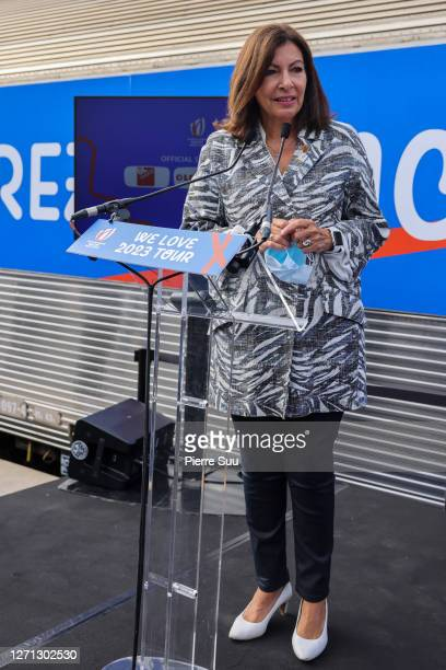 "Paris Mayor Anne Hidalgo attends the ""We Love 2023 Tour"" Launch Ceremony on September 08, 2020 in Paris, France."