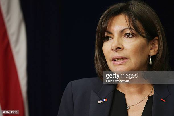 Paris Mayor Anne Hidalgo delivers remarks during the White House Summit on Countering Violent Extremism in the Eisenhower Executive Office Building...
