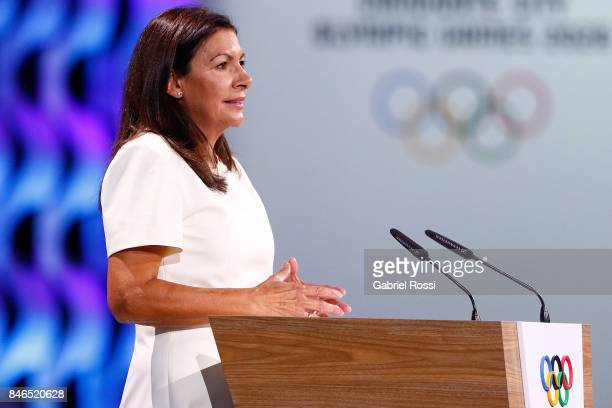 Paris Mayor Anne Hidalgo during the 131th IOC Session 2024 2028 Olympics Hosts Announcement at Lima Convention Centre on September 13 2017 in Lima...