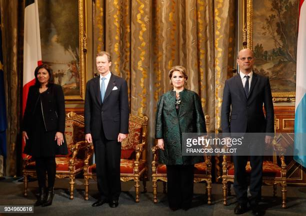 Paris' mayor Anne Hidalgo Grand Duke Henri of Luxembourg Grand Duchess MariaTeresa of Luxembourg and French Education Minister JeanMichel Blanquer...