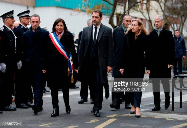 Paris' Mayor Anne Hidalgo her first deputy Emmanuel Gregoire French Interior Minister Christophe Castaner French Junior Minister attached to the...
