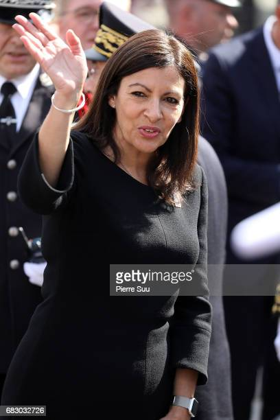 Paris Mayor Anne Hidalgo is seen at the City Hall to greet French President Emmanuel Macron and first Lady Brigitte Macron for an official ceremony...