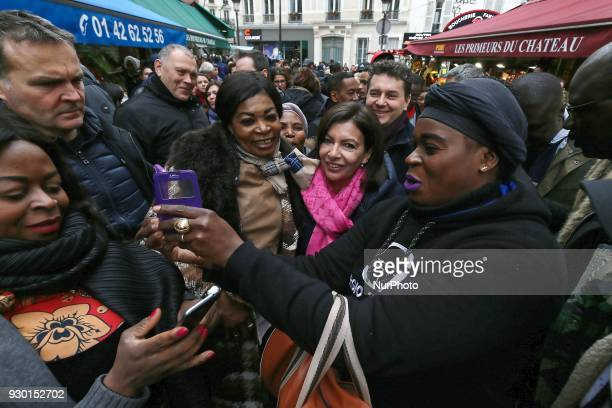 Paris Mayor Anne Hidalgo is seen during the inauguration of the new 'Paris Respire' zone in Château Rouge in Paris France on March 10 2018 This is...