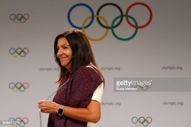 Paris Mayor Anne Hidalgo looks on during a joint press conference between IOC Paris 2024 and LA2028 during the131th IOC Session 2024 2028 Olympics...