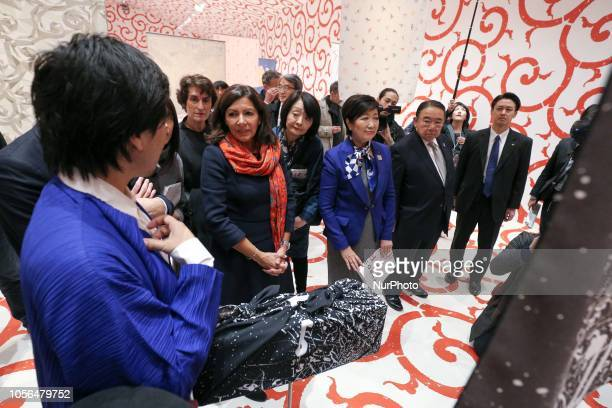 Paris Mayor Anne Hidalgo meets Tokyo Governor Yuriko Koike in Paris on November 2 in the framework of the Tandem ParisTokyo 2018 a cultural exchange...