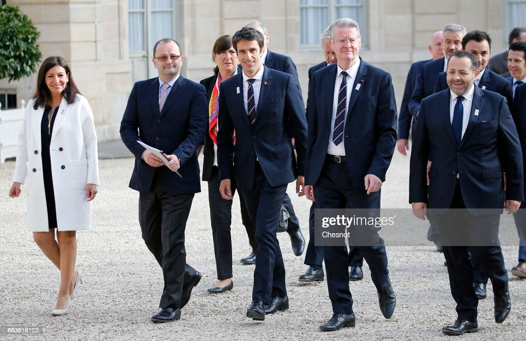 Paris Mayor Anne Hidalgo, President of the IOC Evaluation Commission for the 2024 Olympics Patrick Baumann, co-president of the Paris bid for the 2024 Olympics Tony Estanguet, co-president of the Paris bid for the 2024 Olympics Bernard Lapasset and members of the International Olympic Committee (IOC) Evaluation Commission arrive at the Elysee Presidential Palace in Paris for a meeting with new French President Emmanuel Macron on May 16, 2017 in Paris, France. The cities of Paris and Los Angeles are currently bidding to host the 2024 Olympic Games.