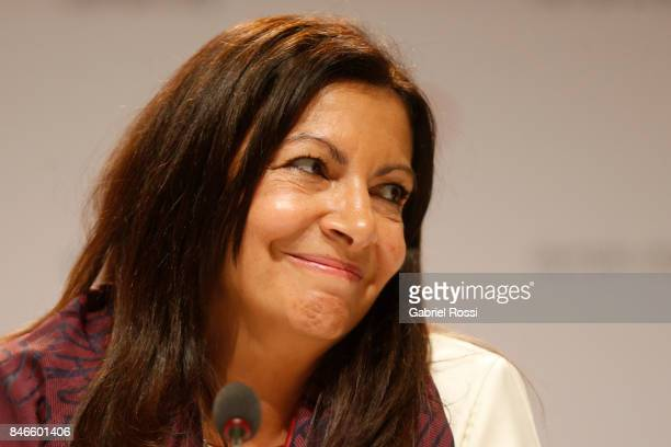 Paris Mayor Anne Hidalgo smiles during a Paris 2024 press conference 131th IOC Session 2024 2028 Olympics Hosts Announcement at Lima Convention...