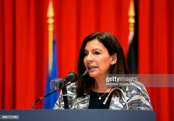 Paris mayor Anne Hidalgo speaks during a press conference announcing that Brussels will be the departure city for the Tour de France in 2019 at the...