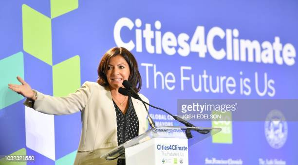 Paris Mayor Anne Hidalgo speaks during the C40 Cities For Climate The Future Is Us kickoff event at San Francisco's City Hall on September 12 2018