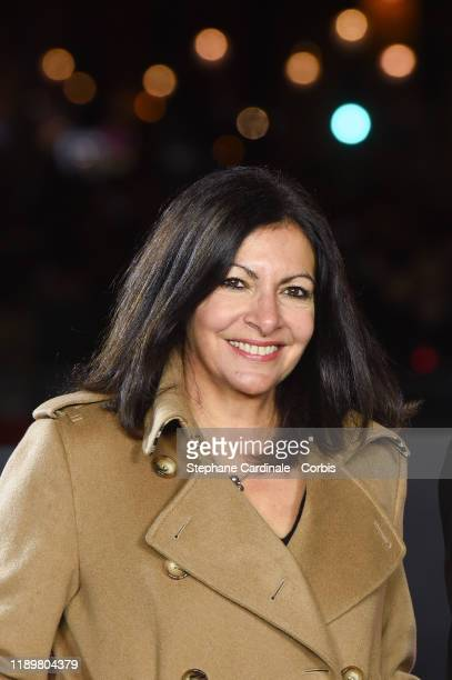 Paris Mayor Anne Hidalgo takes part in the inauguration of the Champs-Elysees Avenue Christmas lights on November 24, 2019 in Paris, France.