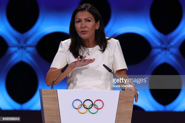 Paris Mayor Anne Hidalgo talks during the 131th IOC Session 2024 2028 Olympics Hosts Announcement at Lima Convention Centre on September 13 2017 in...