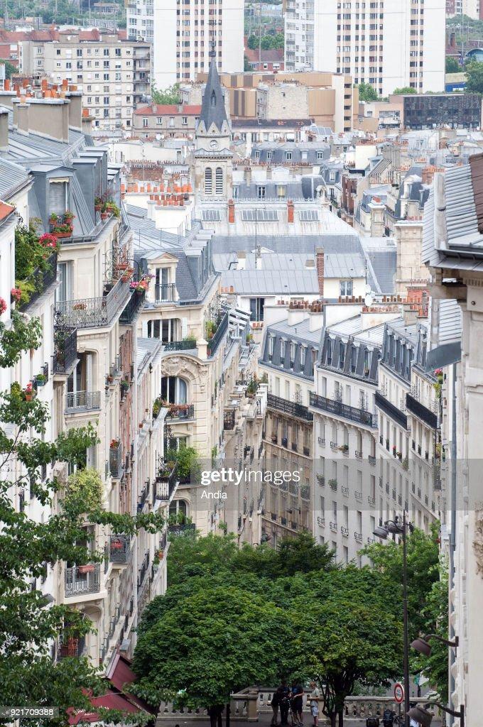 Montmartre District. 'Rue du Mont-Cenis' street in Paris 18th arrondissement (district).