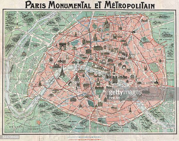 'Paris Monumental et Metropolitain' a 1932 tourist map of Paris with all major monuments and the train and metro lines shown Print
