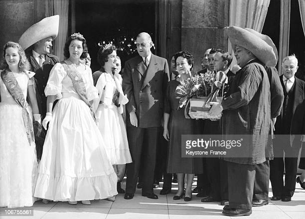 Paris Mr And Mrs Charles De Gaulle Receiving The Traditional Lily Of The Valley On 1St Of May 1959