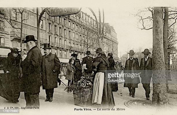 Paris Métro entrance with art nouveau arch early 20th century