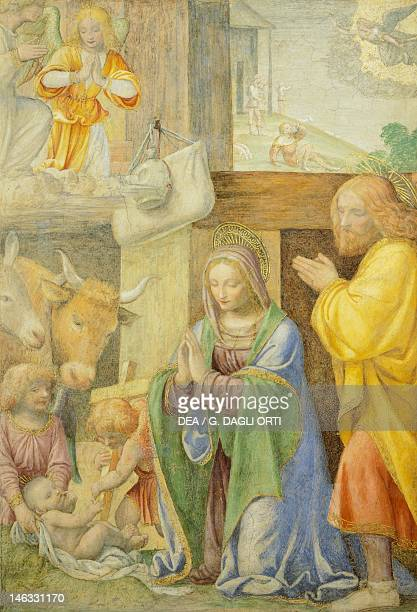 Paris Musée Du Louvre Nativity and Annunciation to the Shepherds 15201525 by Bernardino Luini fresco from the GrecoMilanese oratory
