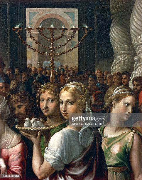 Paris Musée Du Louvre Sevenbranched candelabrum and girls carrying a basket with two doves detail from The circumcision 15211522 by Giulio Romano oil...