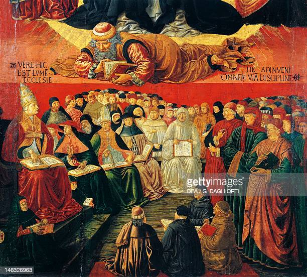 Paris Musée Du Louvre The Arab philosopher Averroes detail from the Triumph of St Thomas Aquinas 14701475 by Benozzo Gozzoli tempera on wood 227x102...