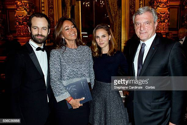 Paris National Opera dance director Benjamin Millepied Katia Toledo actress Natalie Portman and CEO Dior Sidney Toledano attend Weizmann Institute...