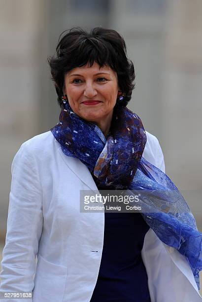 Newly-appointed French Junior Minister for Family, Dominique Bertinotti leaves the Elysee presidential Palace after attending the first cabinet...