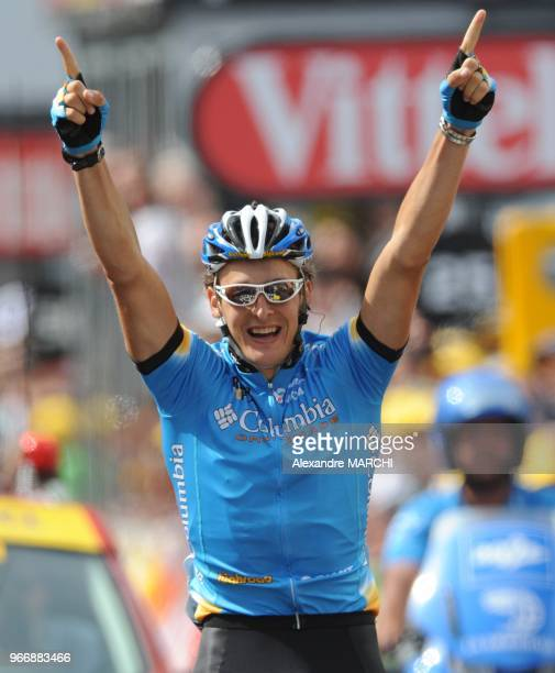 Paris Nice Sisteron stage winner, German Marcus Burghardt jubilates on the finish line, on July 24, 2008 in Saint-Etienne, at the end of the 196,5 km...