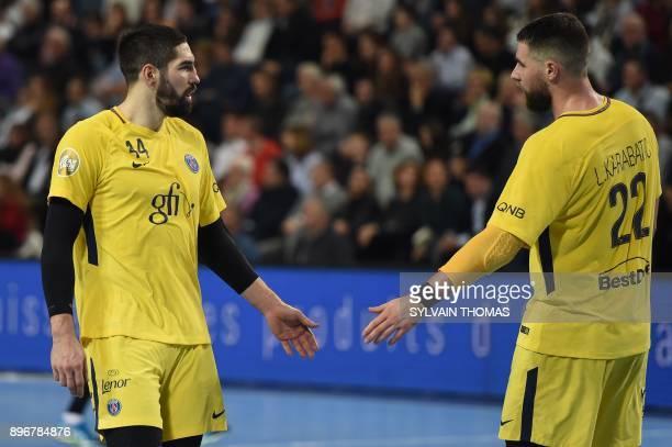 Paris' Nikola Karabatic and Paris' Luka Karabatic react during the French D1 handball match between Montpellier and Paris at Sud de France Arena on...